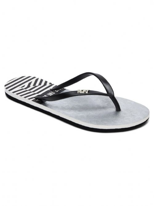 ROXY WOMENS FLIP FLOPS.NEW VIVA STAMP II BLACK STRIPE THONGS BEACH SANDALS 9S 83